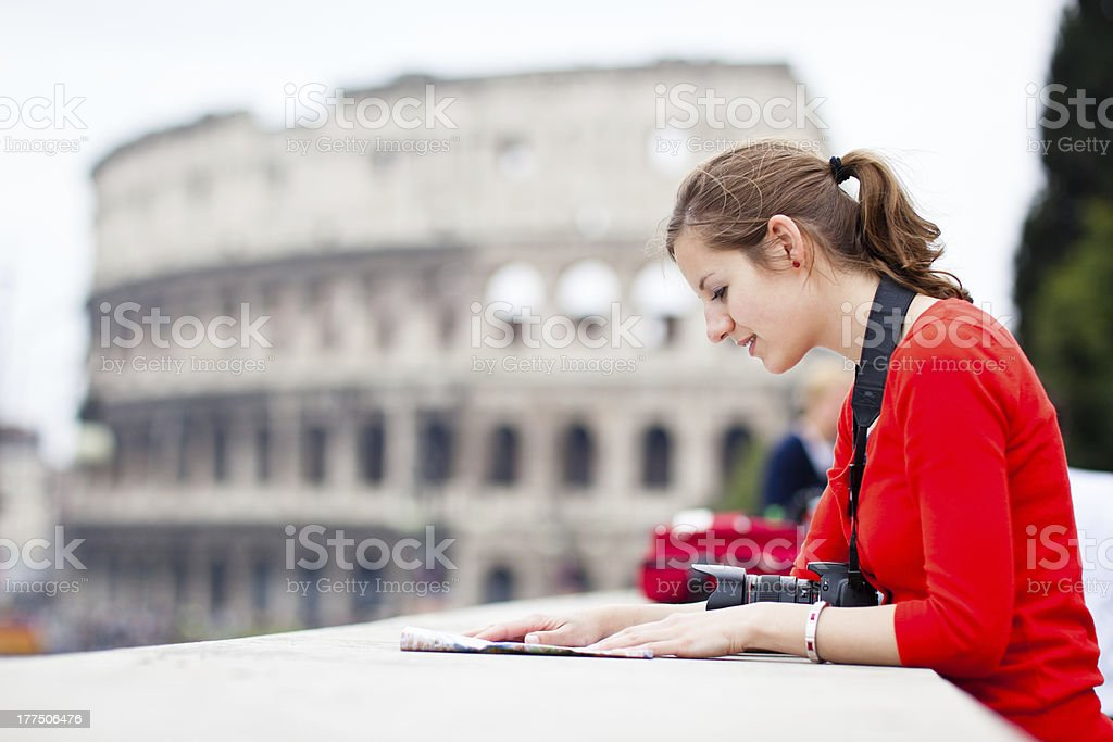 Tourist near Colosseum in Rome, Italy stock photo