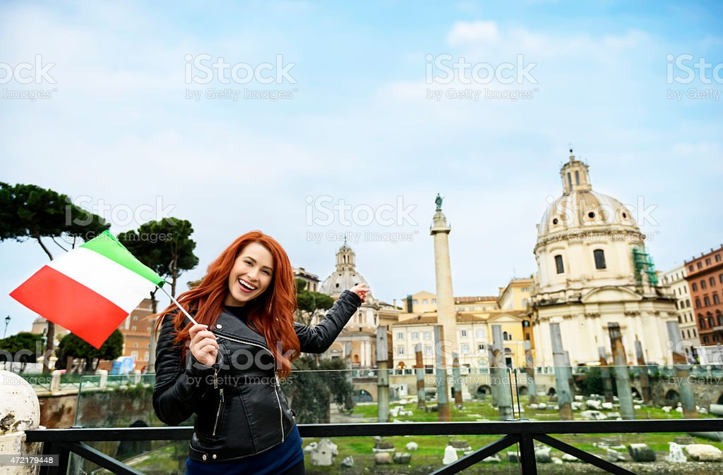 tourist near Trajan forum stock photo