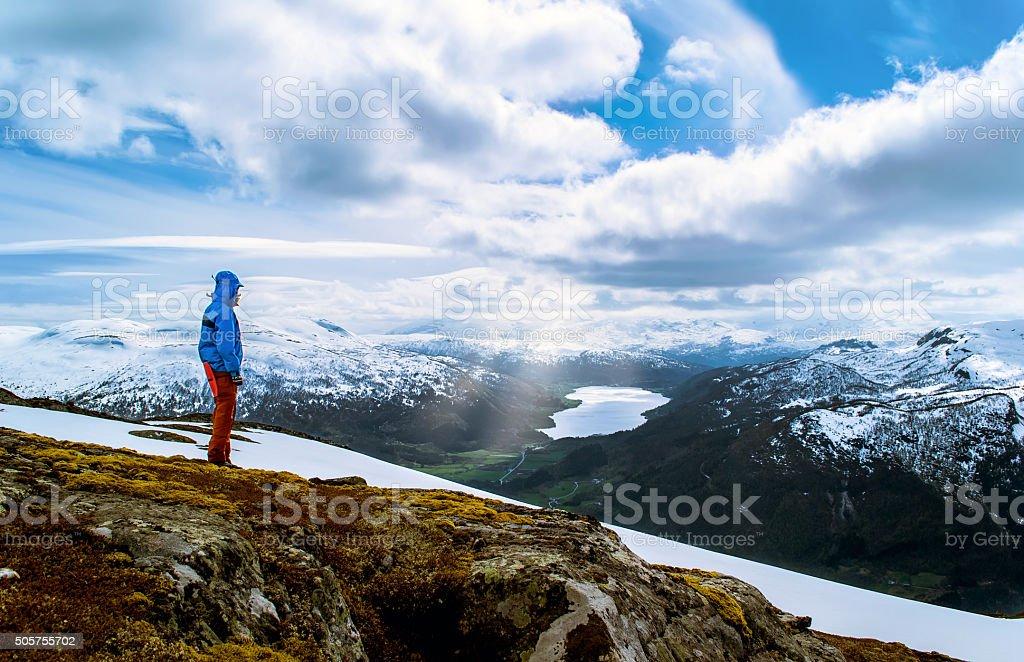 Tourist on a hilltop stock photo