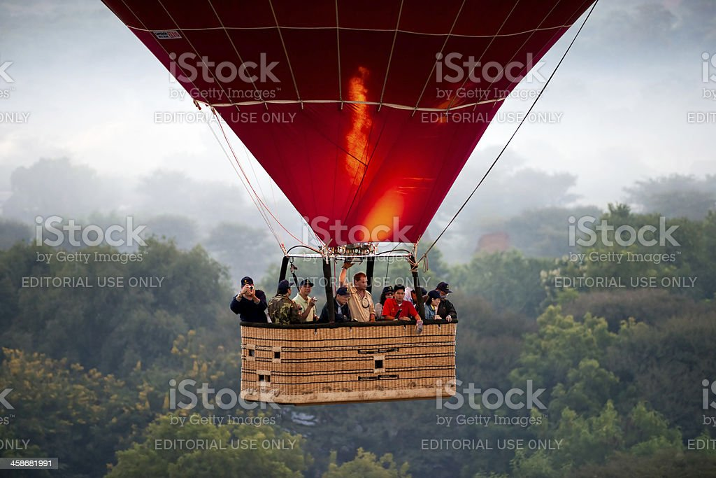 Tourist on a Hot air balloon, Bagan, myanmar. royalty-free stock photo