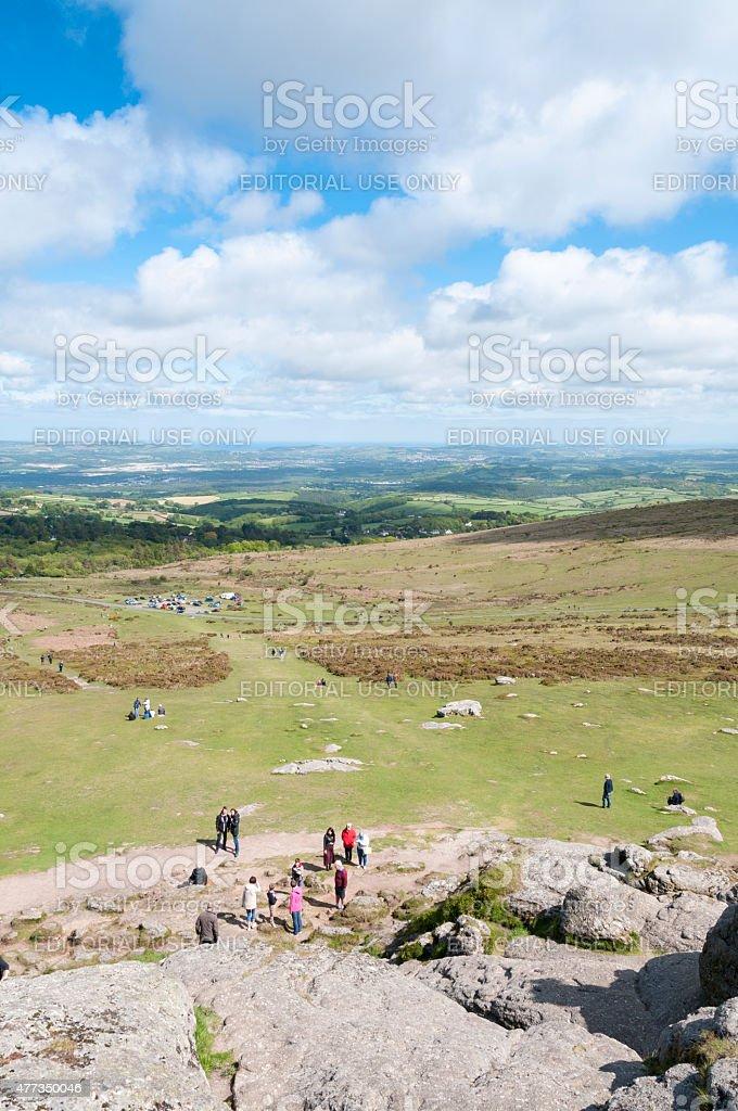 Tourist On Dartmoor stock photo