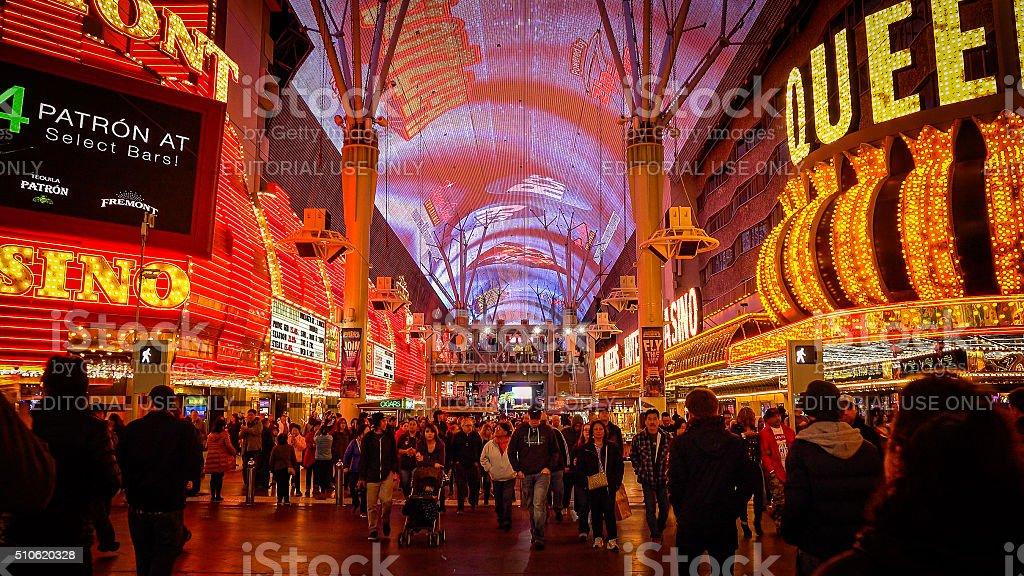 Tourist On Fremont Street at Night in Las Vegas stock photo