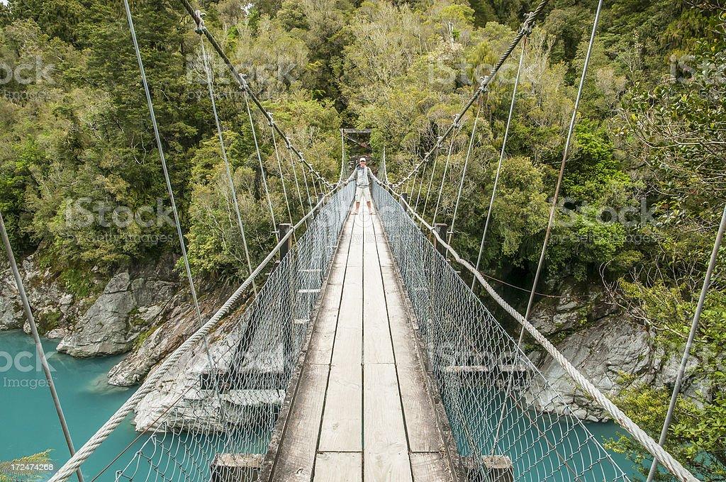 Tourist on hanging bridge royalty-free stock photo
