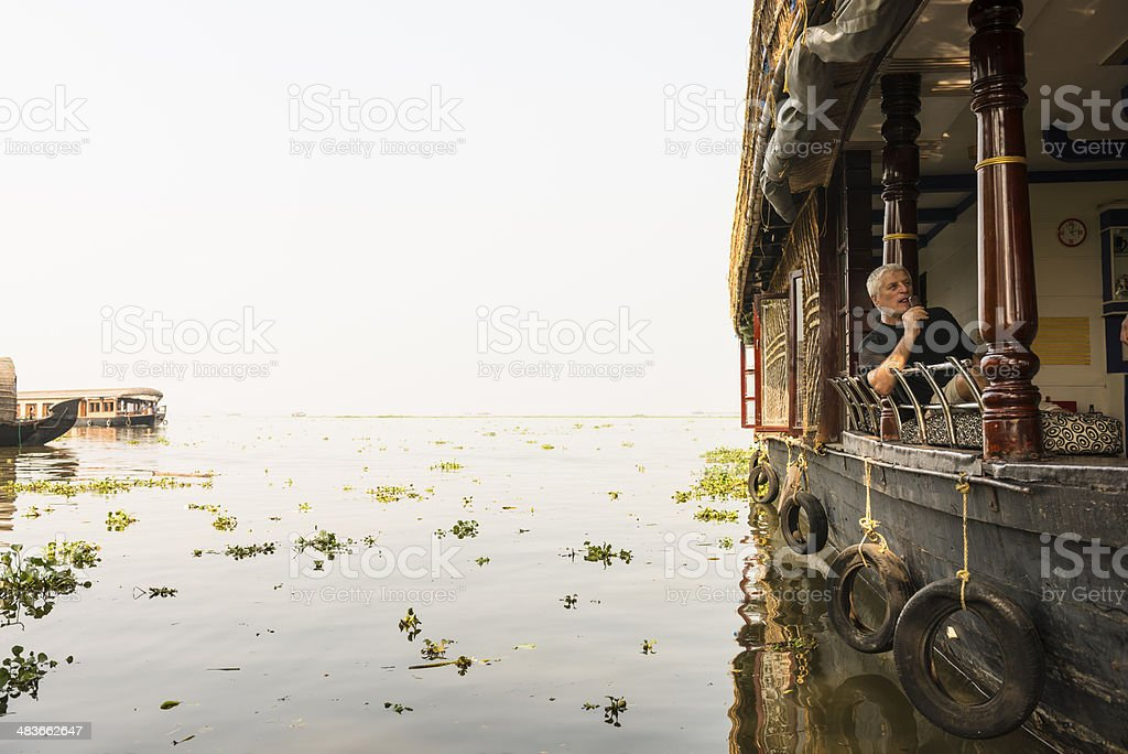 Tourist on House boat stock photo
