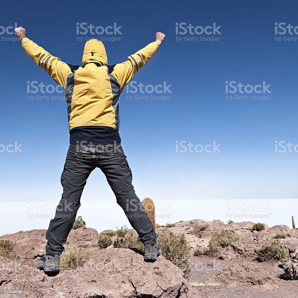 Tourist on Isla del Pescado, Salar de Uyuni stock photo