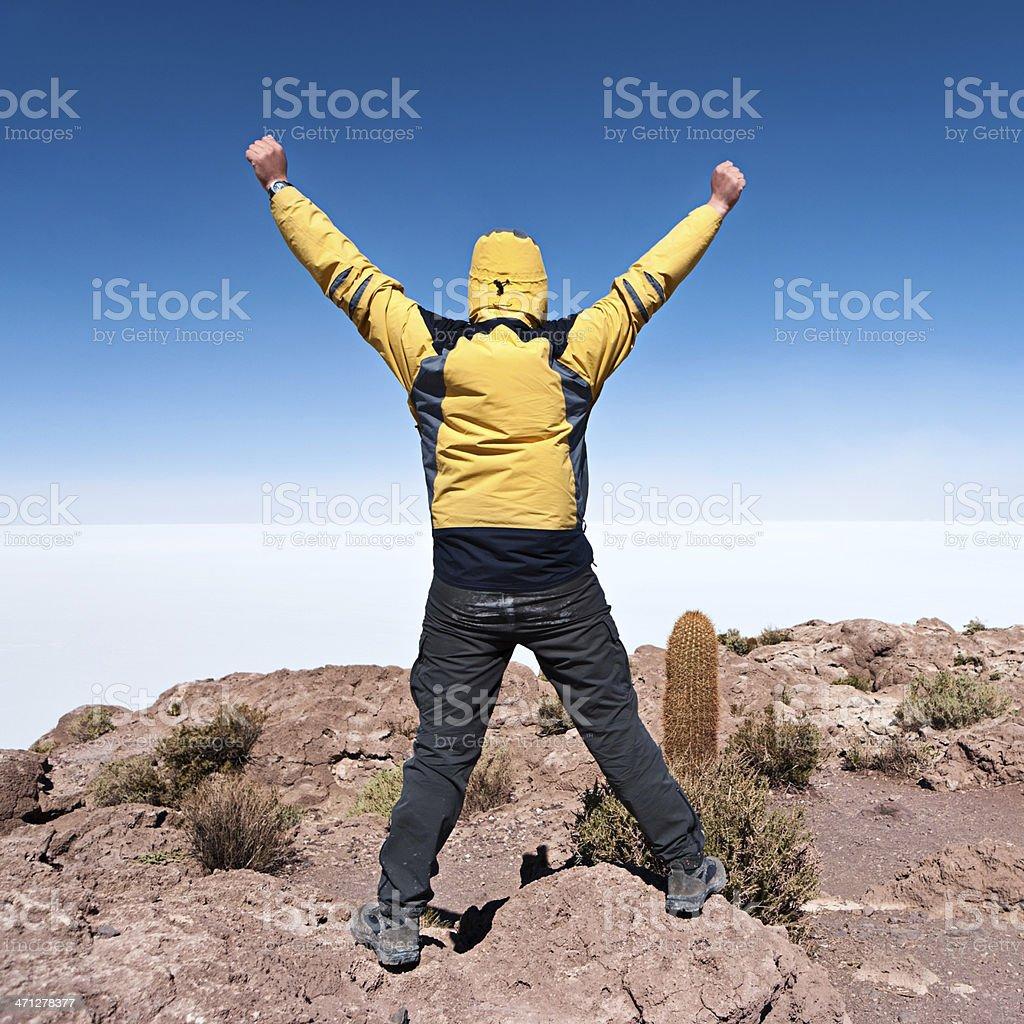 Tourist on Isla del Pescado, Salar de Uyuni royalty-free stock photo