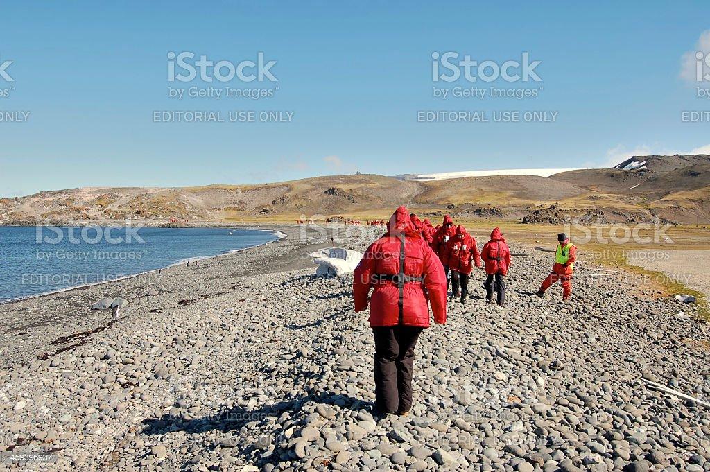 Tourist On King George Island Antarctica stock photo