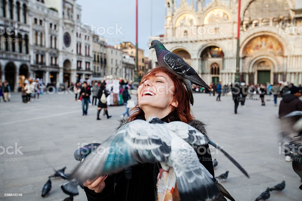 Tourist on the background Saint Mark's square, Venice, Italy stock photo