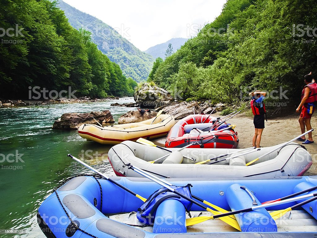 Tourist on white water rafting on Tara River Canyon, Montenegro stock photo