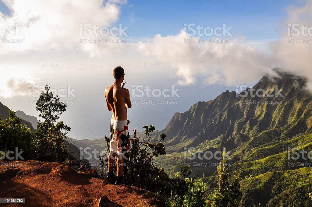 Tourist overlooking Kalalau Valley - Kauai, Hawaii stock photo