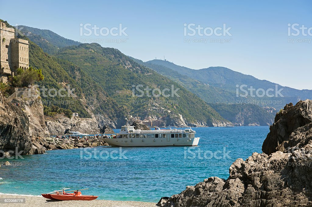 Tourist passengers getting off ferry at Monterosso al Mare, Italy stock photo