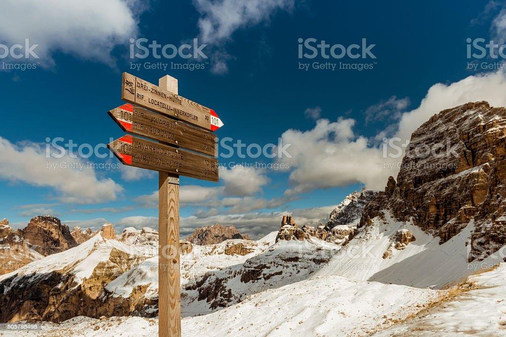 tourist paths directions Dolomiti mountains, Italy stock photo