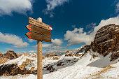 tourist paths directions Dolomiti mountains, Italy