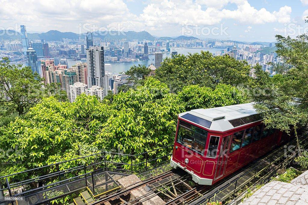 Tourist peak tram in Hong Kong stock photo
