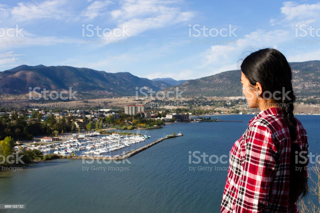 Tourist Penticton Viewpoint Okanagan Lake stock photo