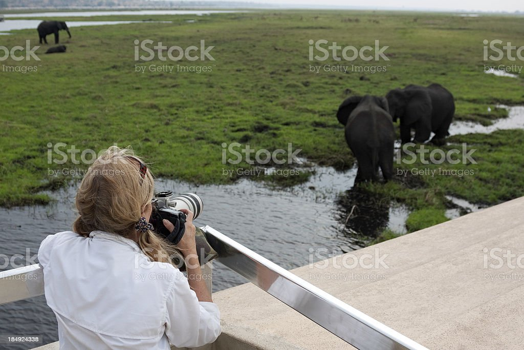 Tourist photographer on safari in Africa royalty-free stock photo