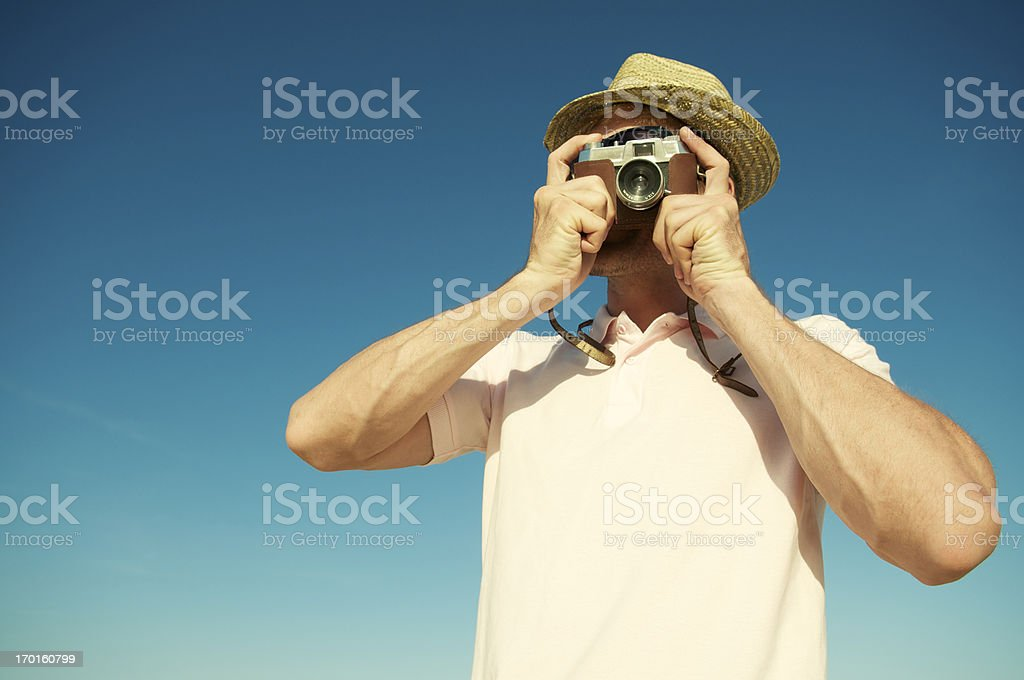 Tourist Photographer Takes Picture Old-Fashioned Camera royalty-free stock photo