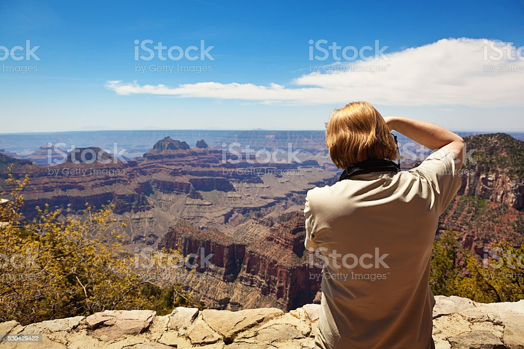 Tourist Photographing Grand Canyon National Park North Rim stock photo