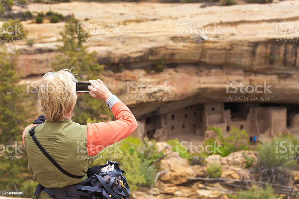 Tourist Photographing Scenery at Mesa Verde National Park stock photo