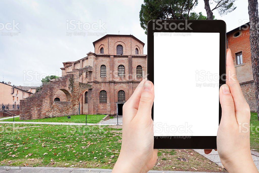 tourist photographs Basilica San Vitale in Ravenna stock photo