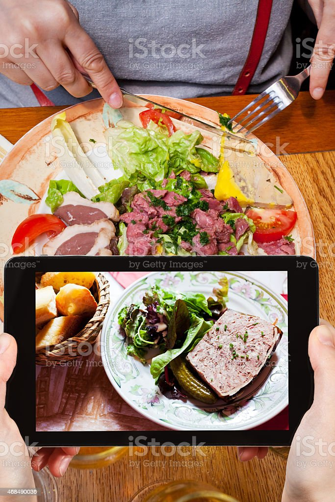 tourist photographs of french meat pate stock photo