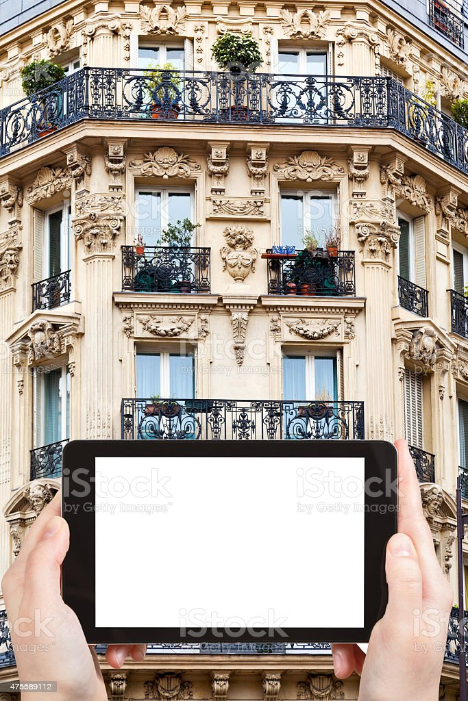 tourist photographs of Paris building stock photo