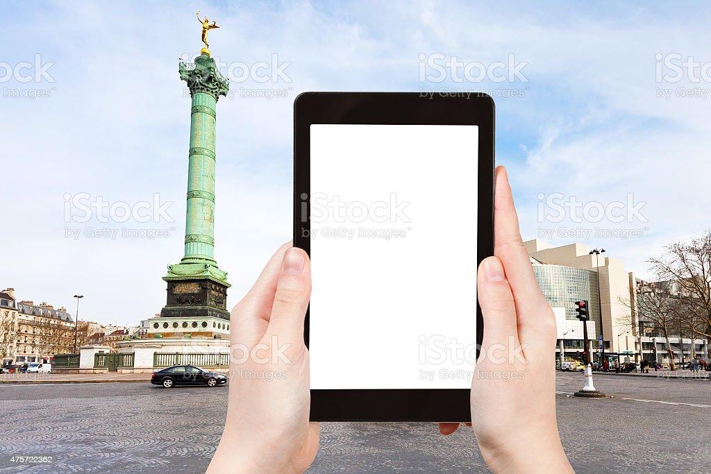 tourist photographs of Place de la Bastille Paris stock photo