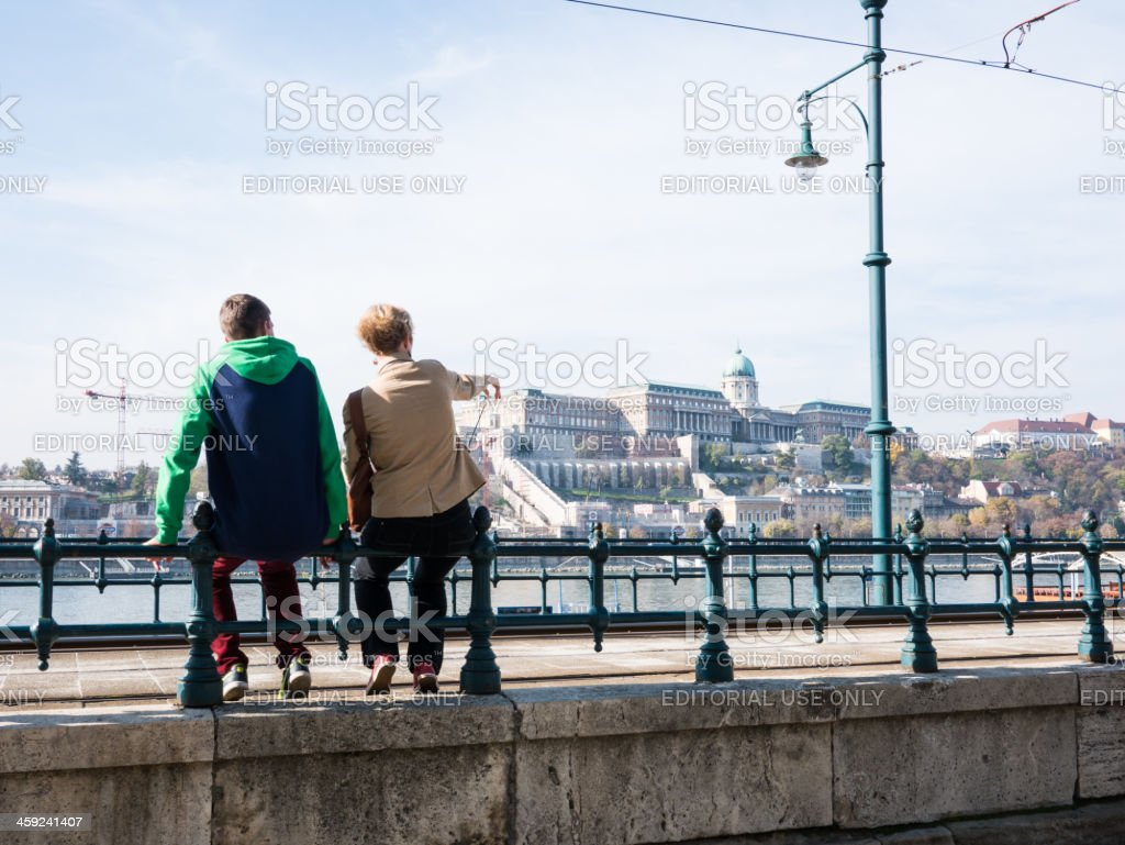 Tourist point towards Royal Palace of Buda from Pest. royalty-free stock photo