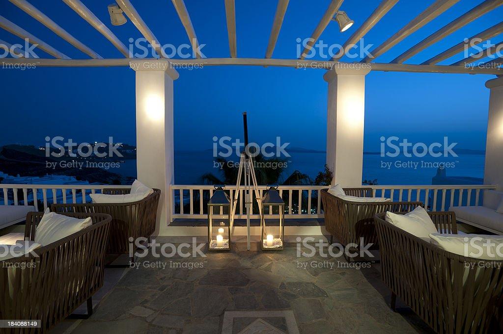 Tourist resort balcony bar stock photo