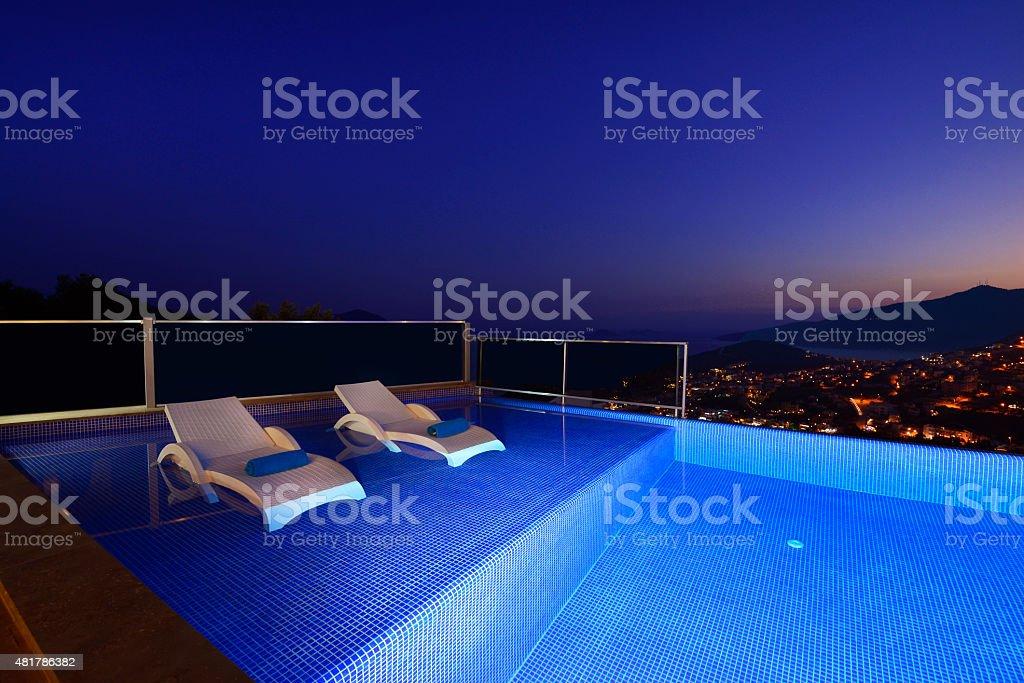 Tourist Resort Hotel Infinity Swimming Pool stock photo