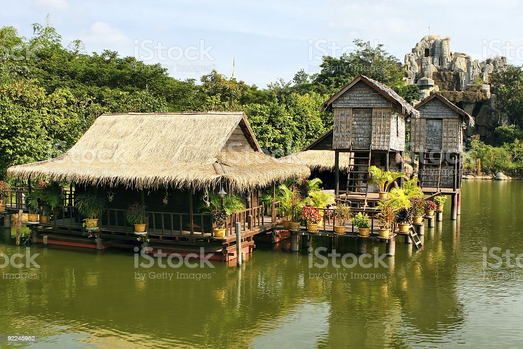 A tourist resort in Cambodia with houses built on stilts stock photo