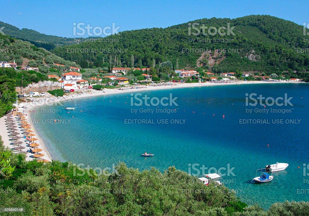 Tourist resort on Skopelos island. Panorama. stock photo