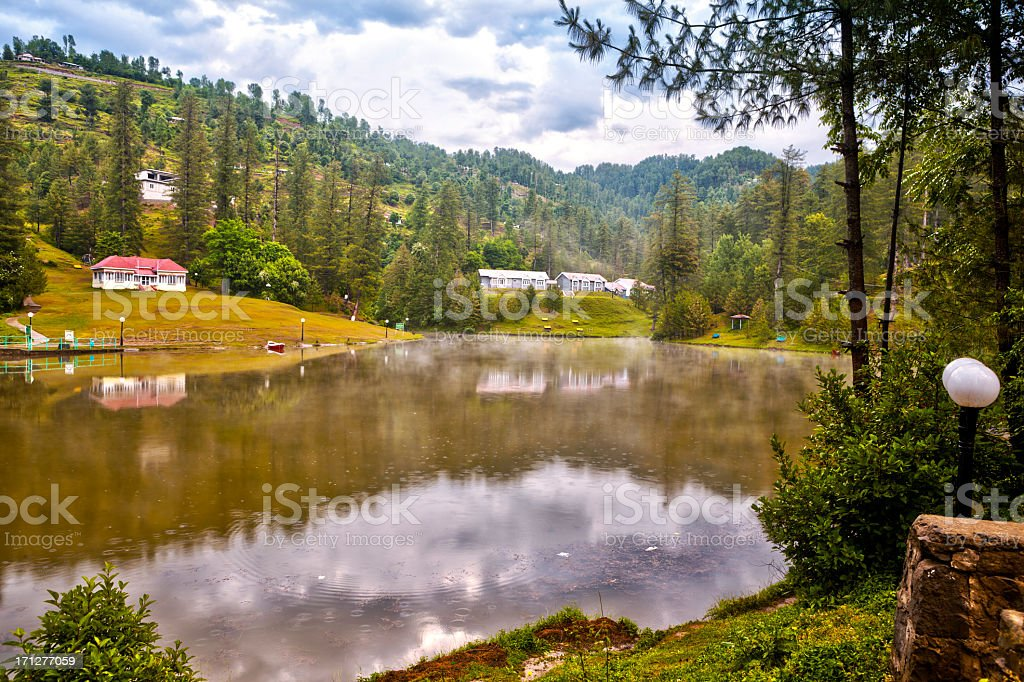 Tourist Resort overlooking Beautiful Lake, Azad Kashmir HDR stock photo