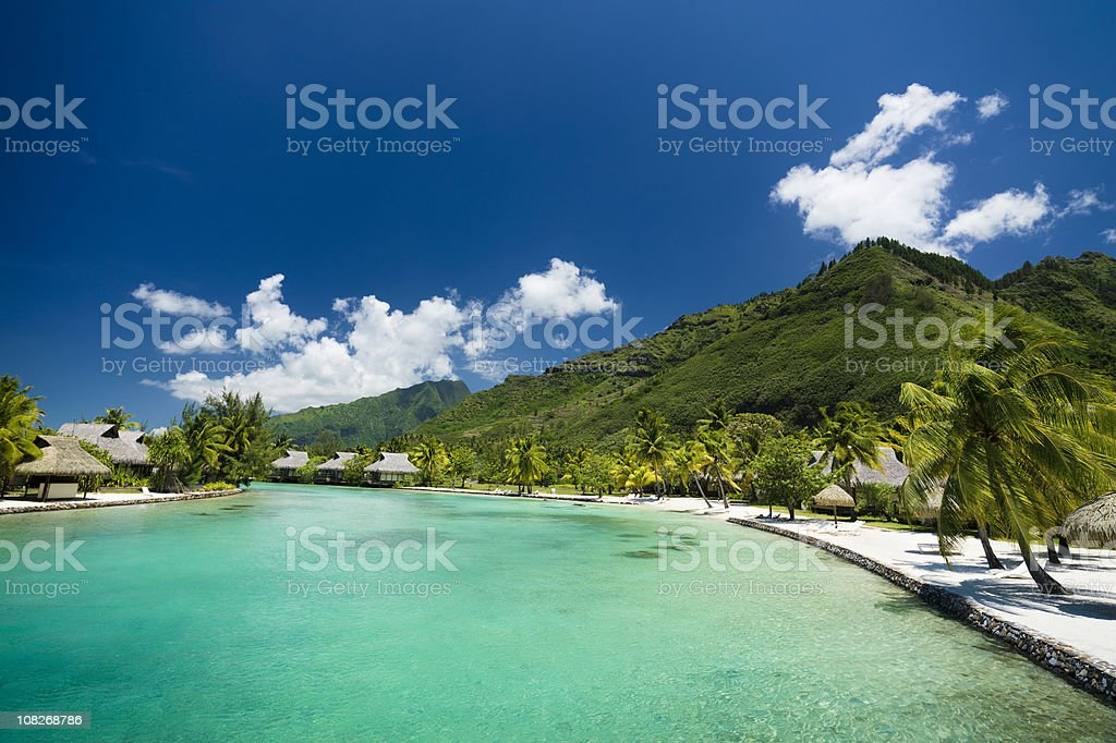 Tourist Resort with Ocean Lagoon stock photo