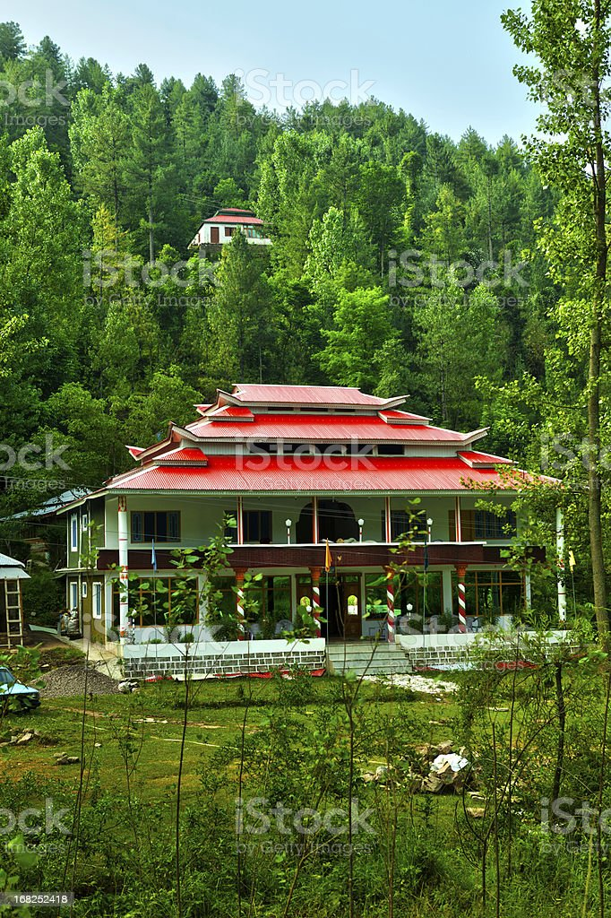 Tourist Rest House in midst of thick forest, Azad Kashmir stock photo