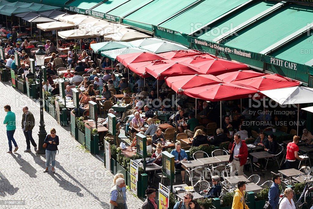 Turista ristoranti di Bruges foto stock royalty-free