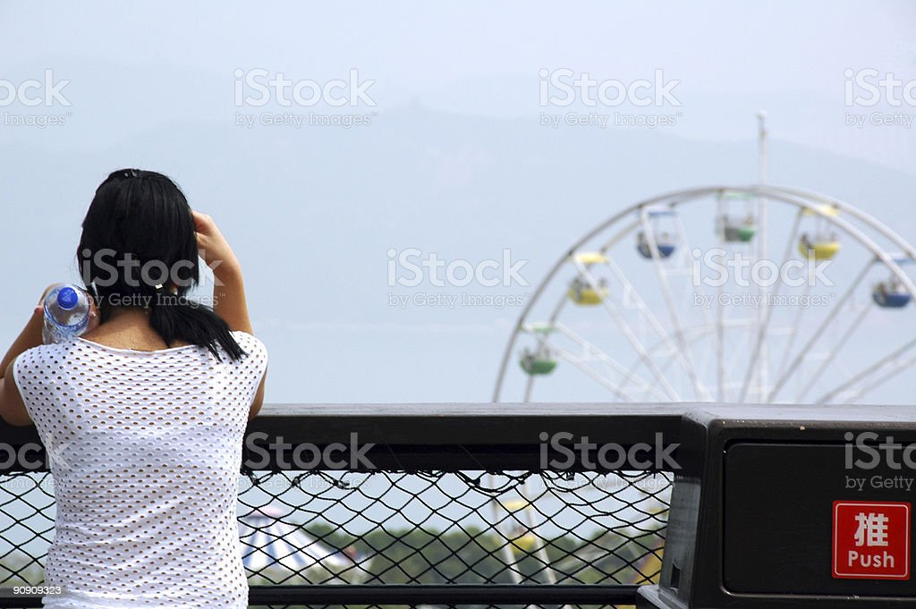 Tourist Resting in Park stock photo