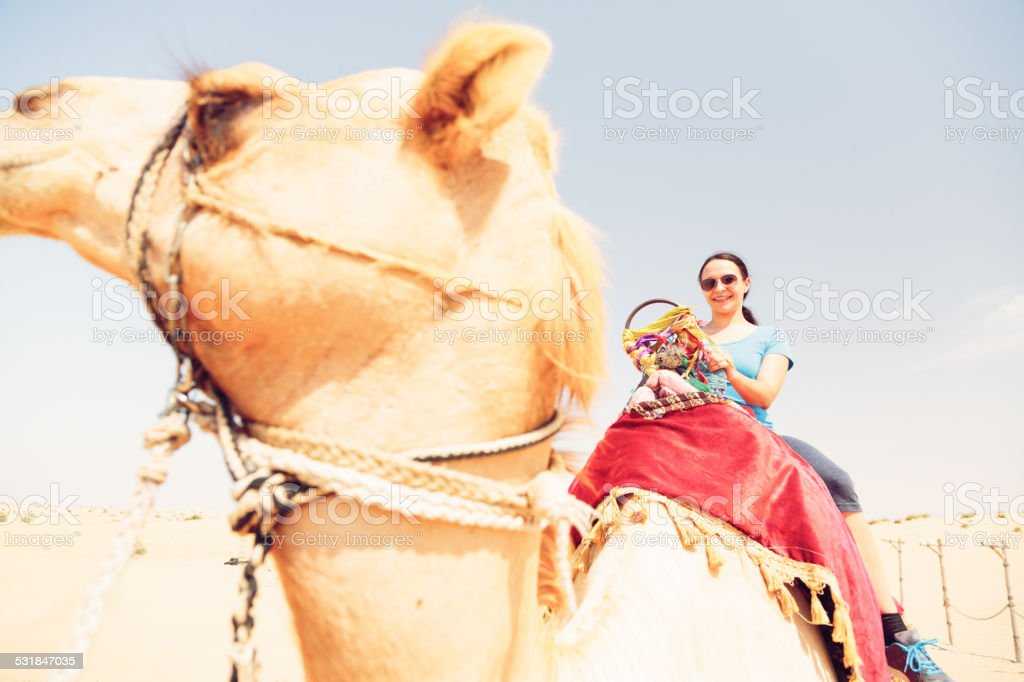 tourist riding a camel stock photo