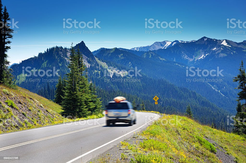 Tourist Road Trip at Olympic National Park, Washington, USA stock photo