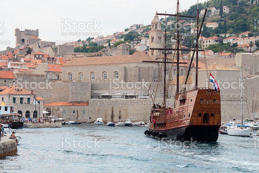 Tourist sailing ship stock photo