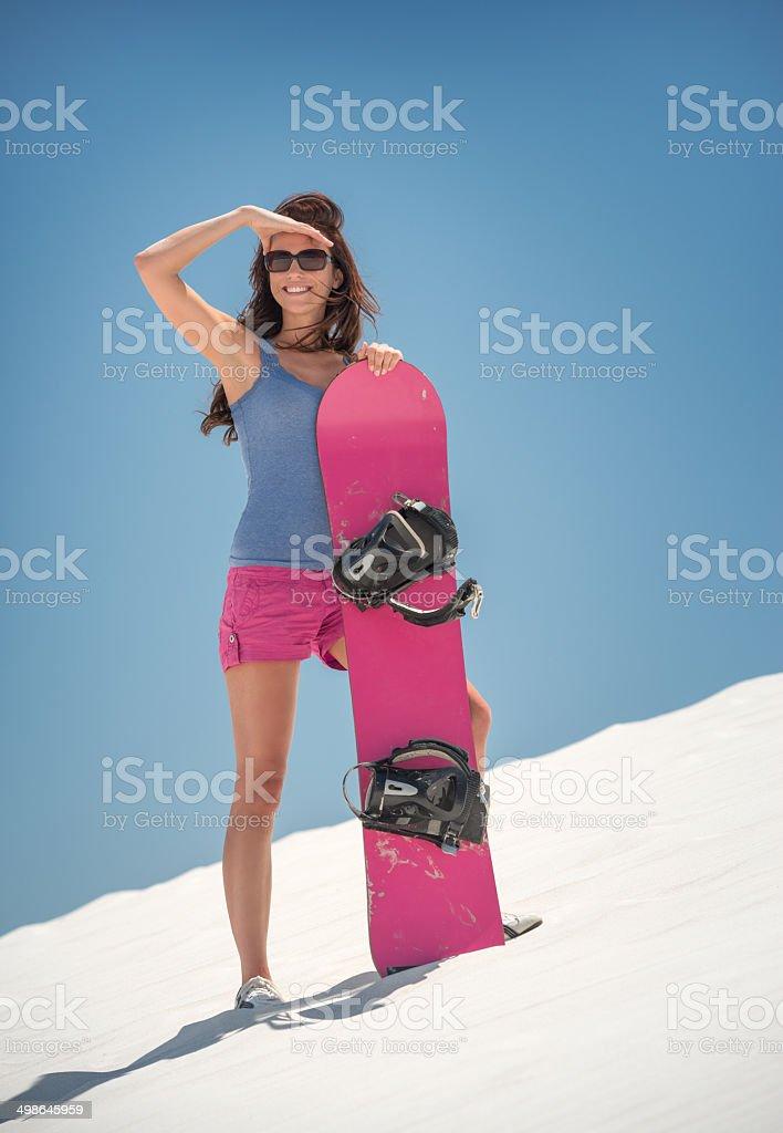 Tourist Sand Boarding royalty-free stock photo