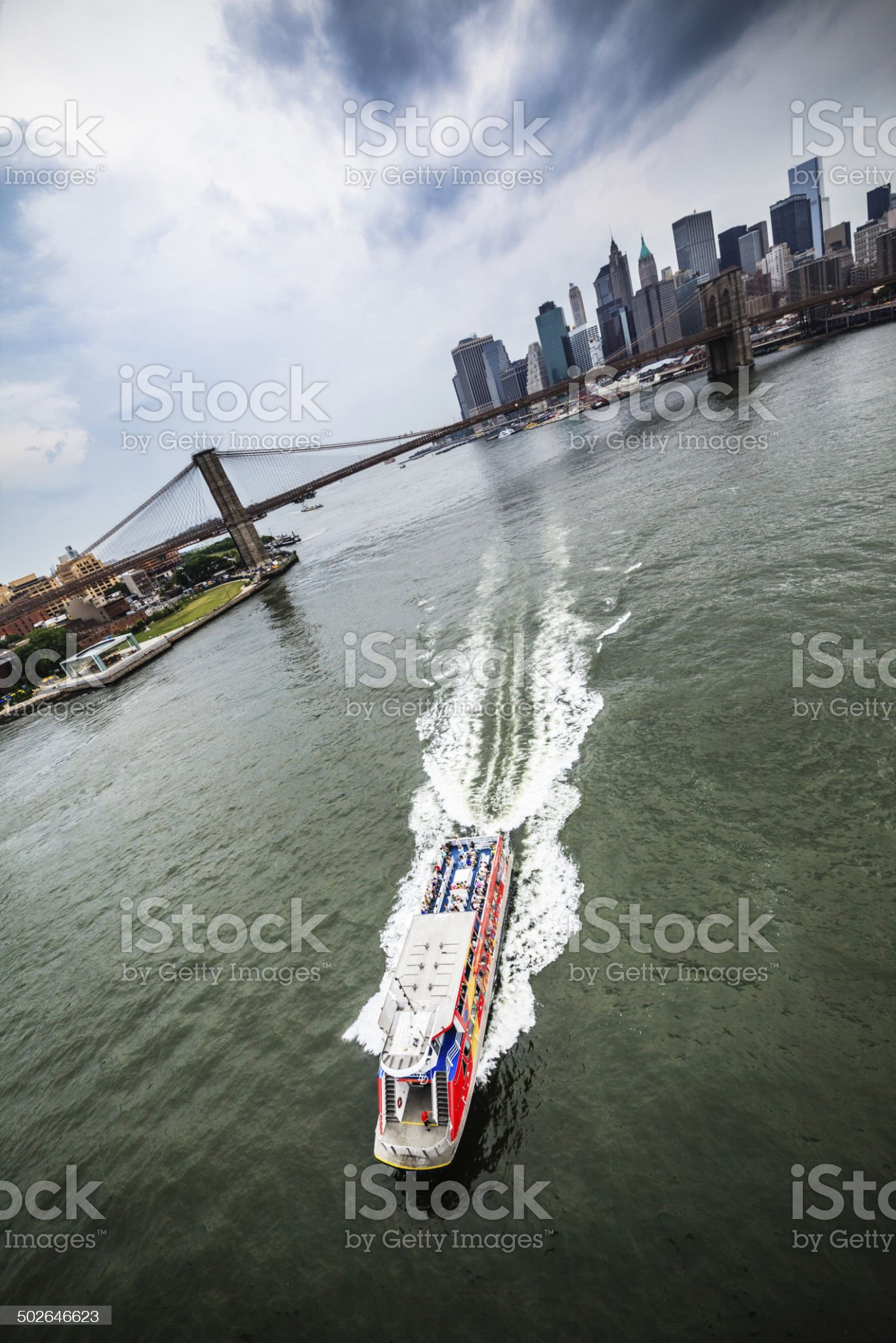 Tourist ship at the East River royalty-free stock photo