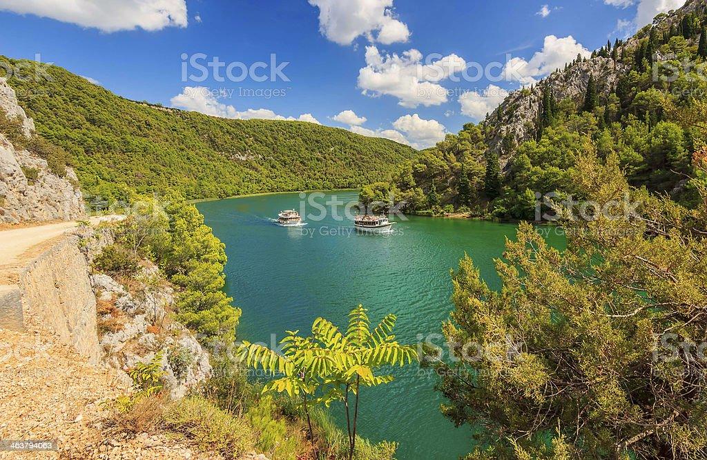 Tourist ships on a Krka River,Croatia,Europe stock photo