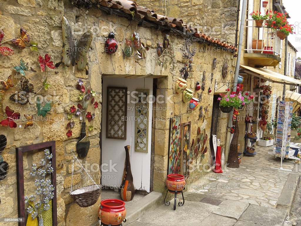 Tourist shop in France, adorned with craft items. stock photo