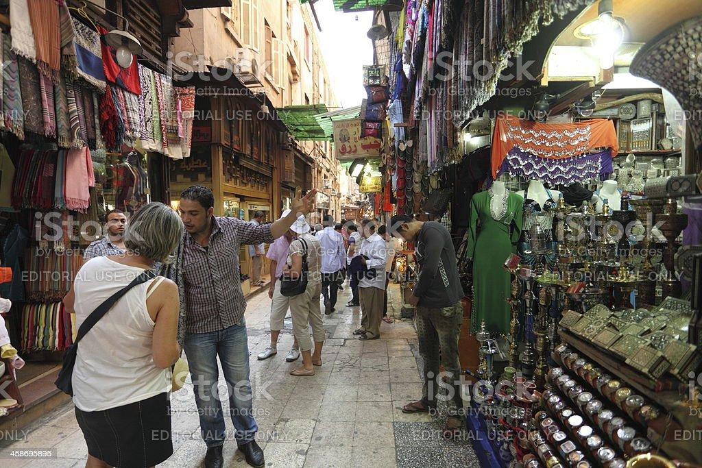 Tourist shopping at Khan El Khalil, market in Cairo royalty-free stock photo