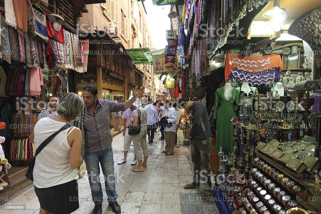 Tourist shopping at Khan El Khalil, market in Cairo stock photo