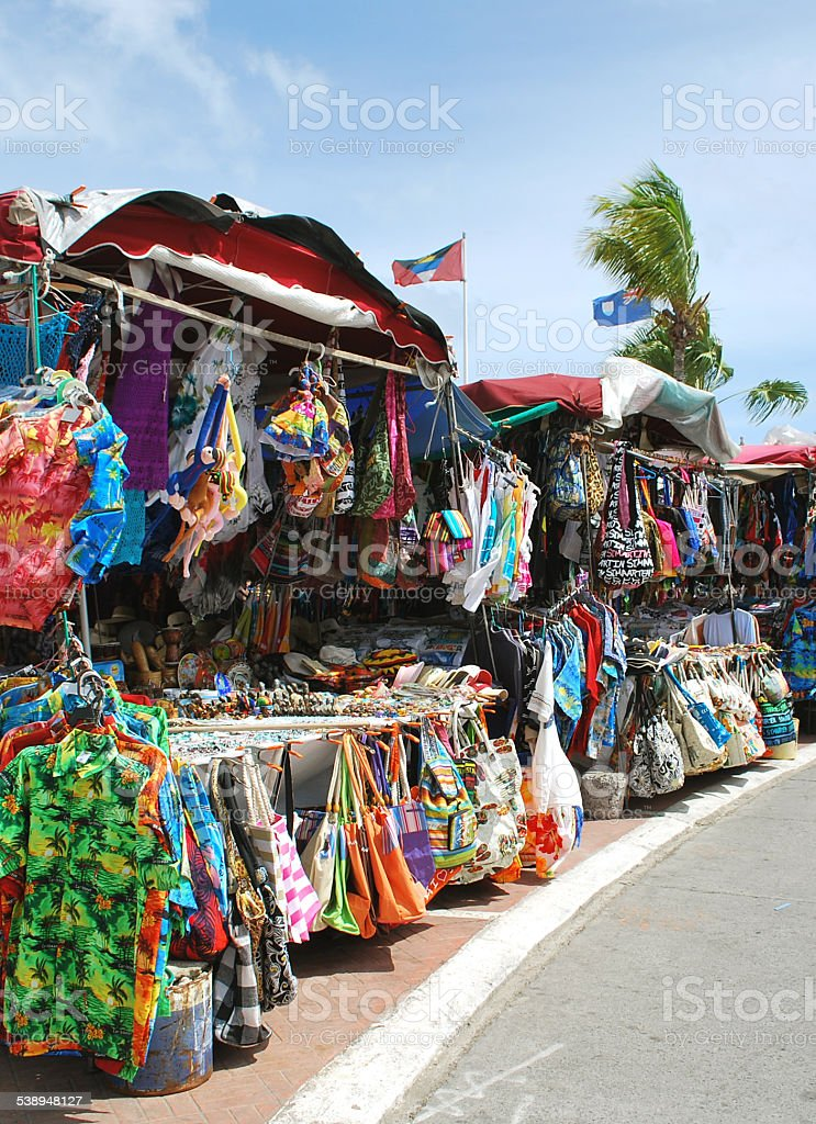 Tourist Shopping Place in Marigot, St. Martin. stock photo