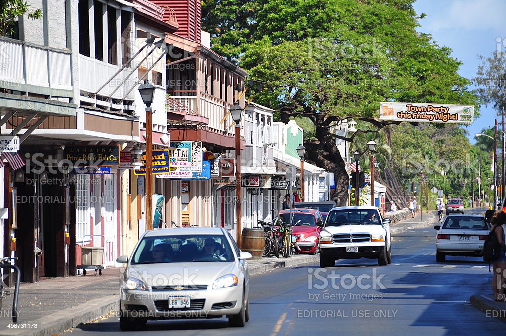 Tourist shops in Lahiana stock photo