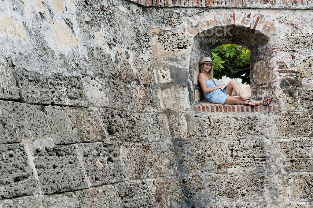 Tourist sightseeing in the wall city of Cartagena stock photo