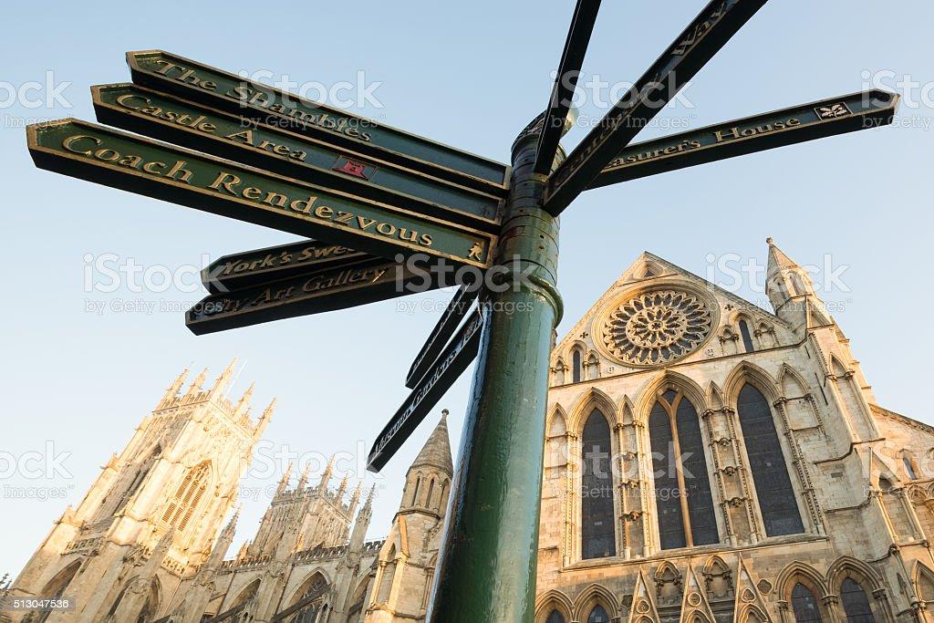 Tourist Sign and York Minster, York, England, UK stock photo